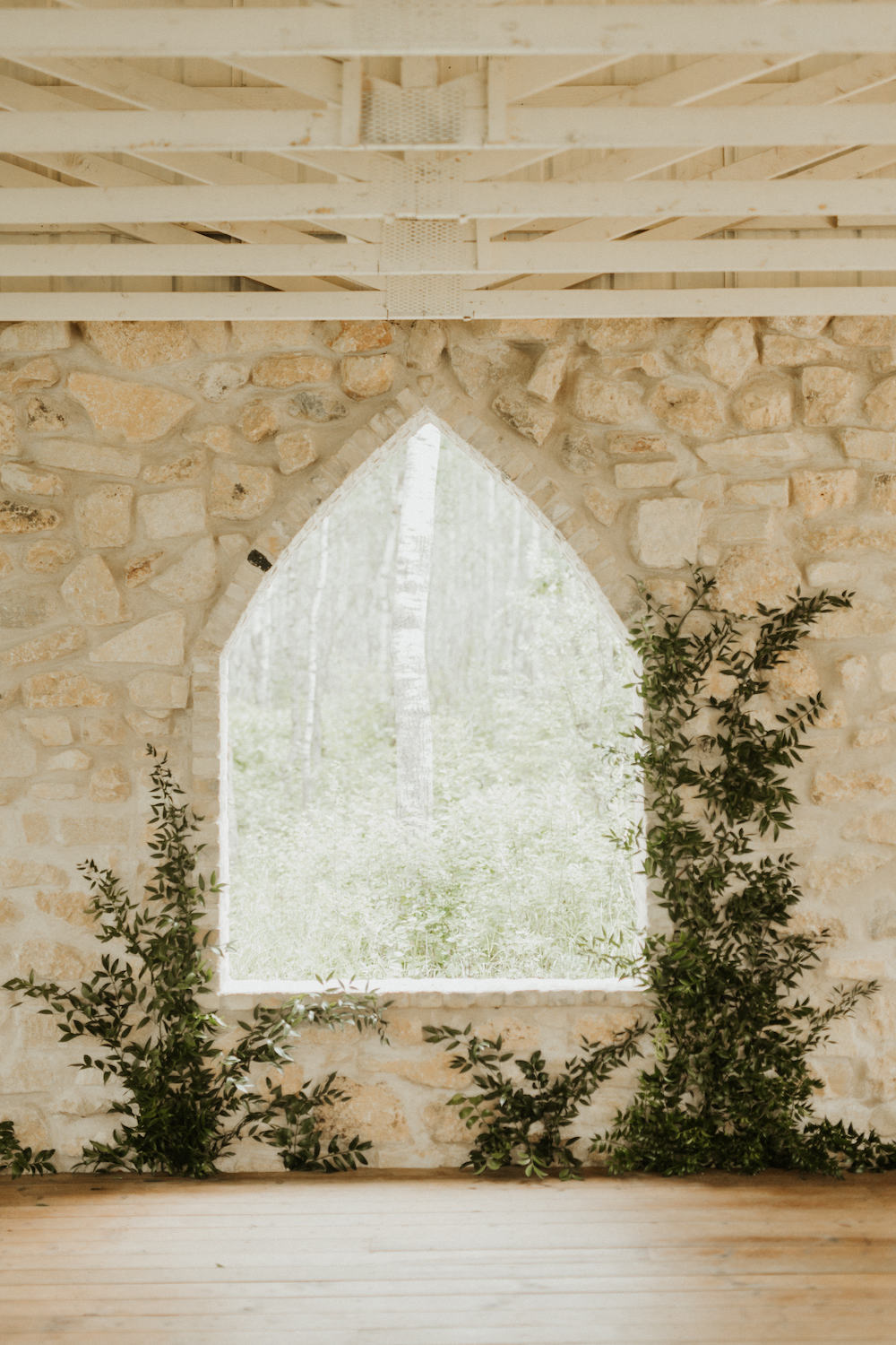 Wild Greenery Wall for Ceremony Backdrop - Stone House Creative