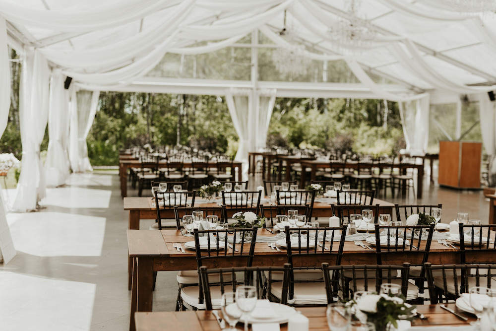 Clear Top Tent Wedding - Moody Greenery Wedding Decor