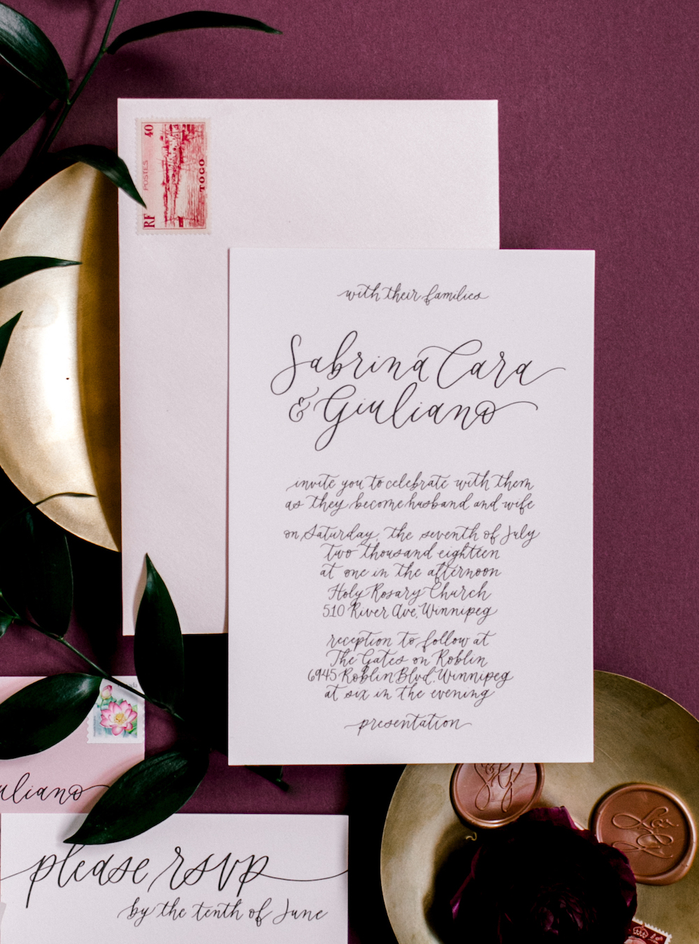 Calligraphy Wedding Invitations - Winnipeg Event Designer