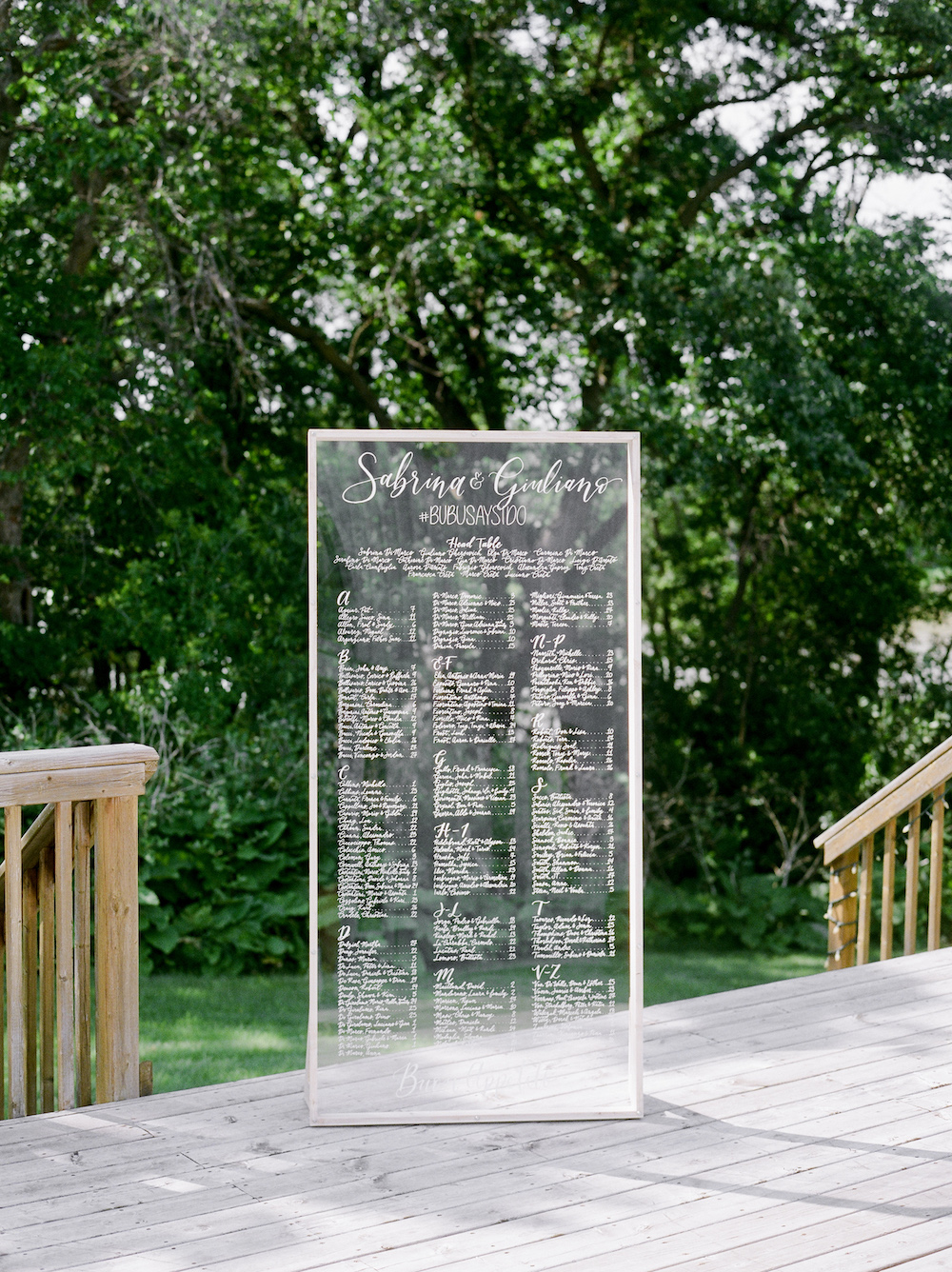 Calligraphy Seating Chart - Wedding Event Designer in Winnipeg