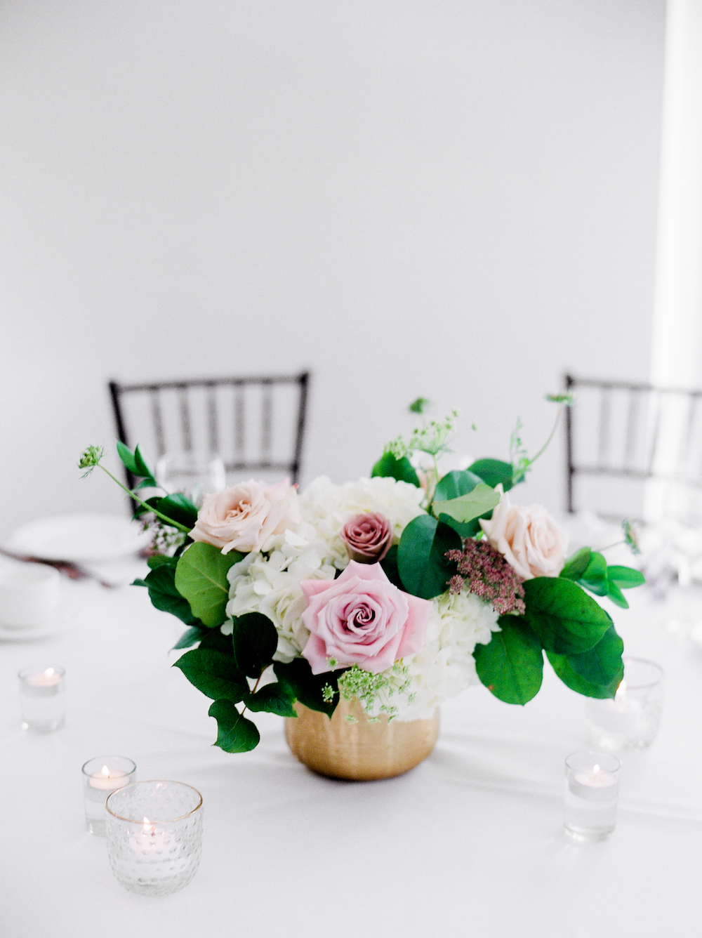 Blush and Mauve Floral Centrepiece - Stone House Creative