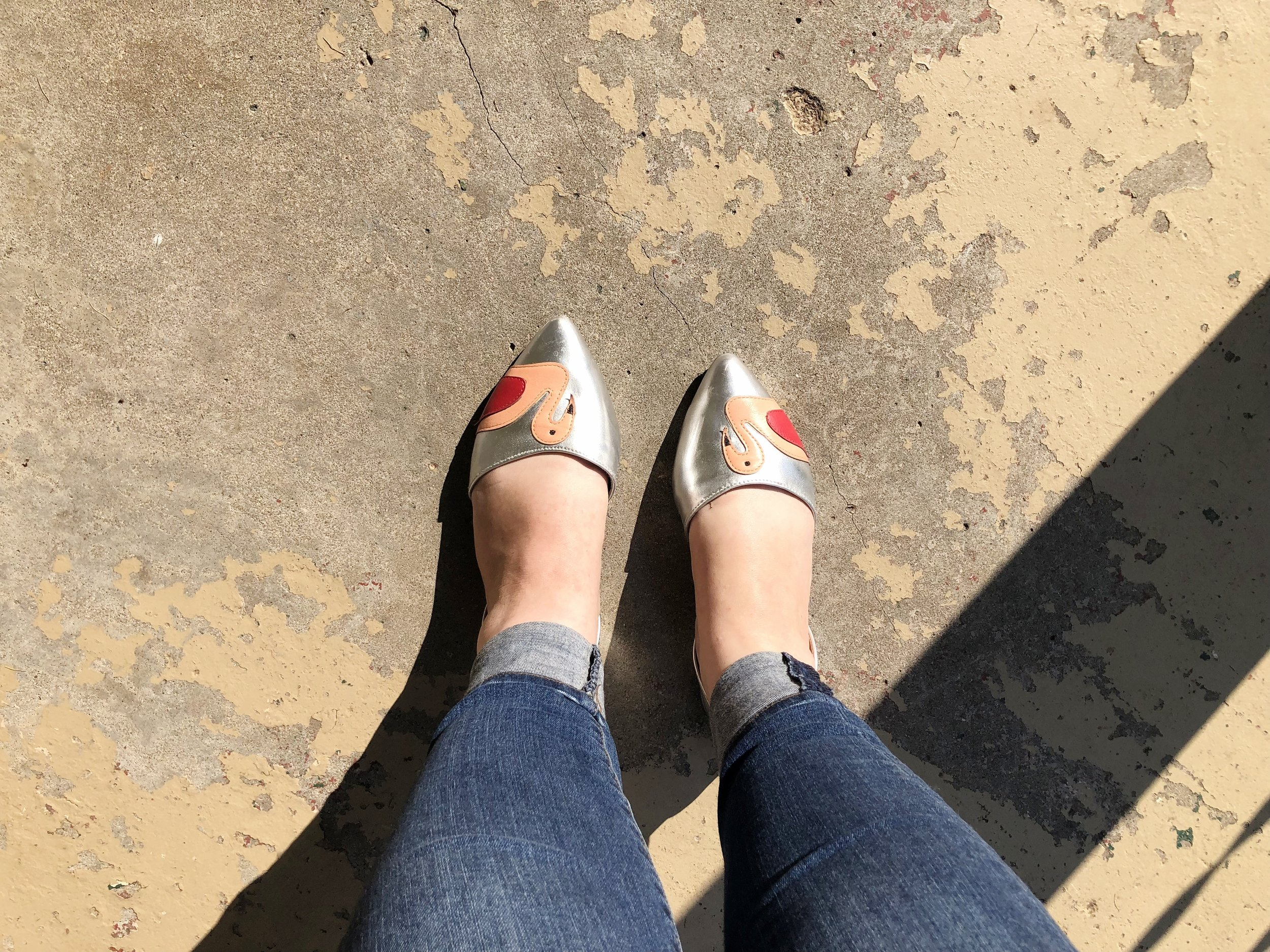 Flamingo Shoes jazz up my jeans and blouse combo!