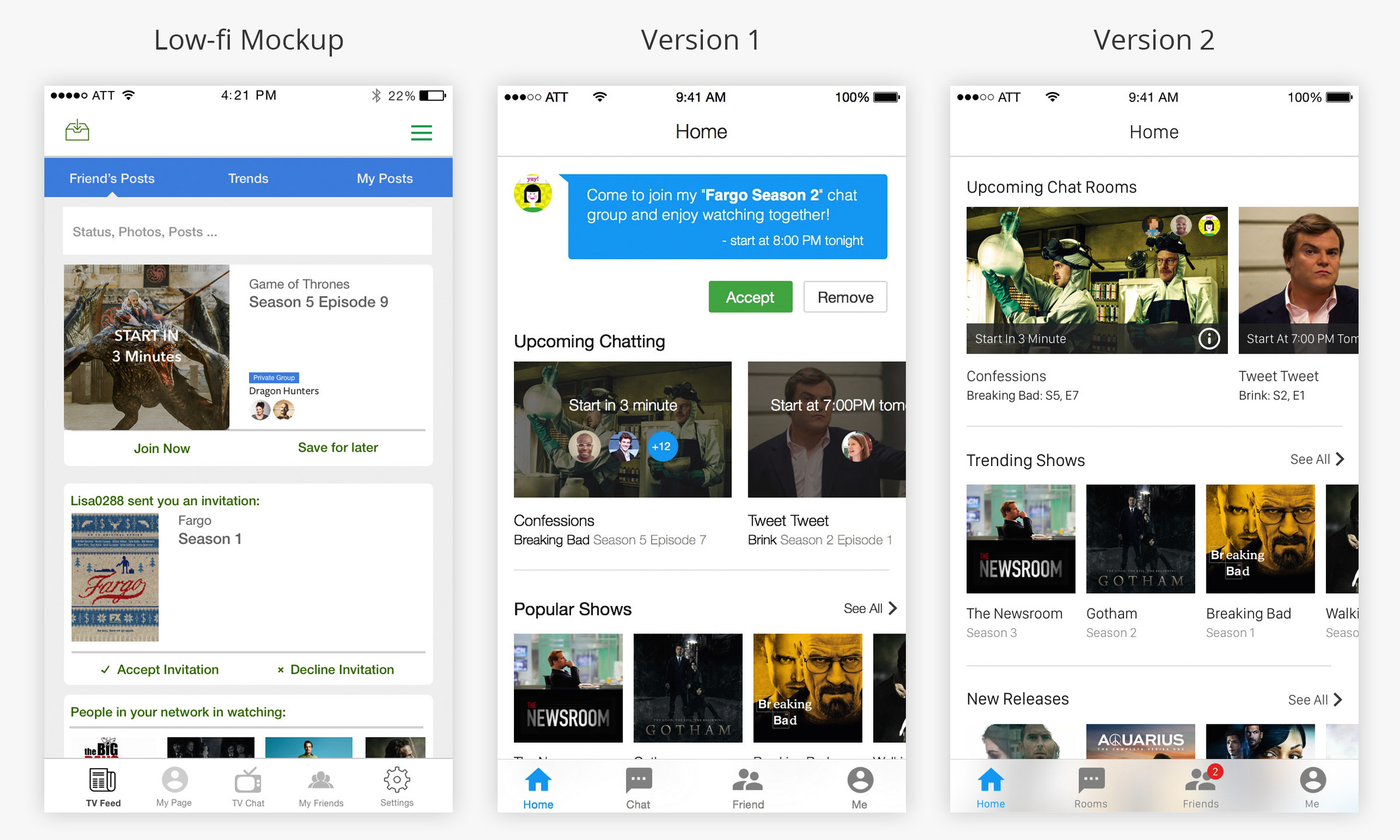 User Interface were iteratively improved during the design process to remove confusion and duplication for user interaction.  Home page  1. Users can post feeds on TV Feed page 2. Posting function was removed to prevent duplication with existing social media,and to narrow down our features to social interaction in private chat room. 3. Invitation's notification on Home page was moved to Friends page to clearly differentiate the functions of each page.