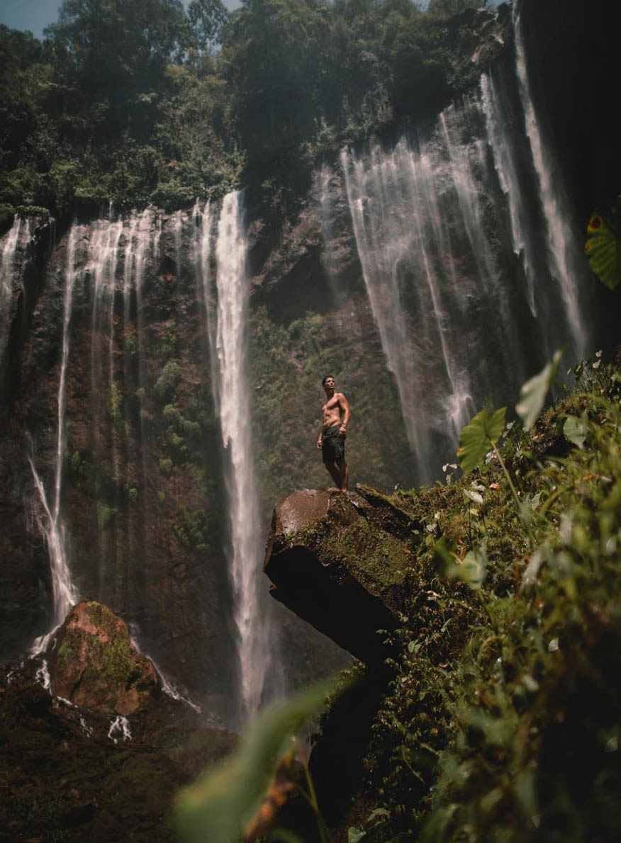 Lost LeBlanc at Tumpak Sewu Waterfall in East Java - the best waterfall in Indonesia
