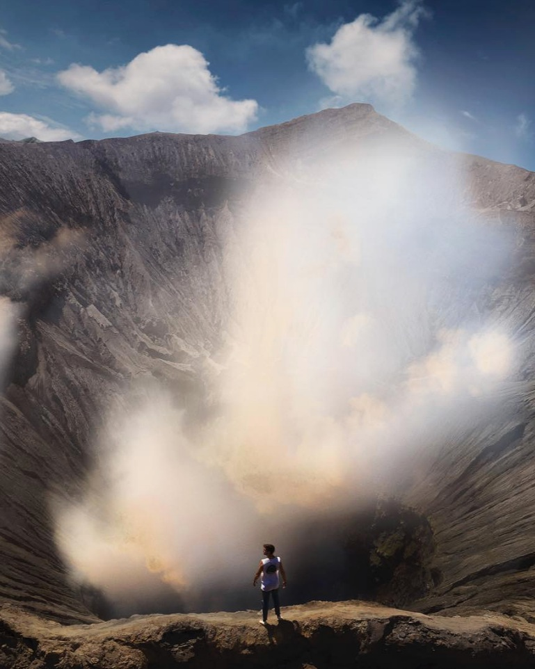 Lost LeBlanc standing near the crater of the active volcano Mount Bromo in East Java