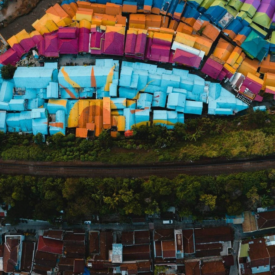 Drone shot of Rainbow Village in East Java (Kampung Pelangi) from above