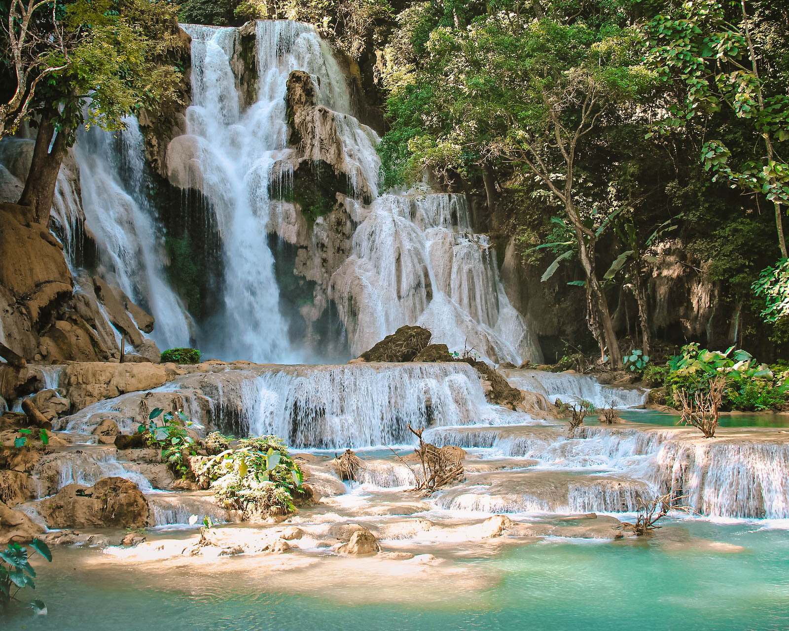 Kuang Si Waterfall, Luang Prabang, Laos - crazy layered waterfall