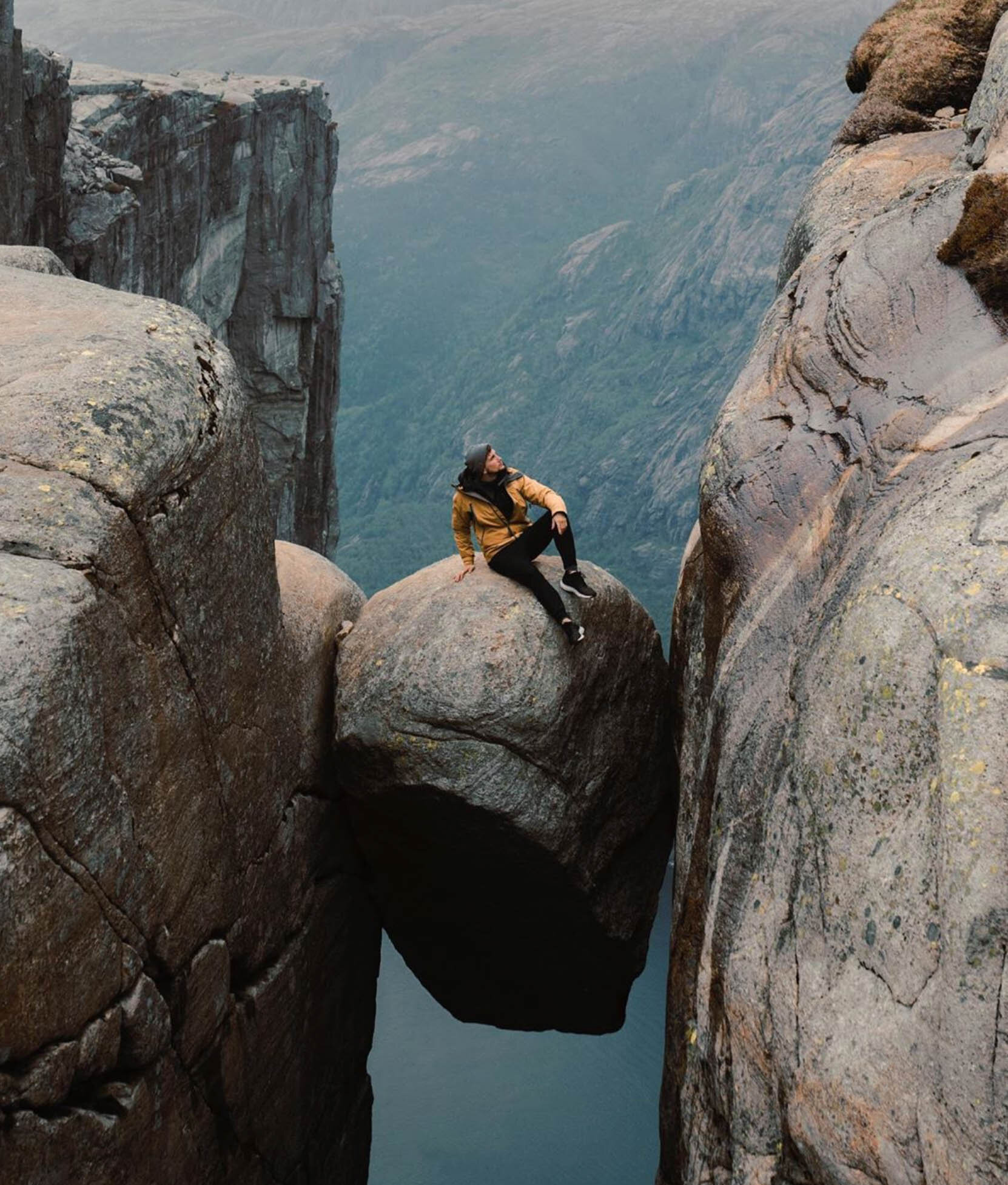 Lost LeBlanc on the rock at Kjerag, Norway