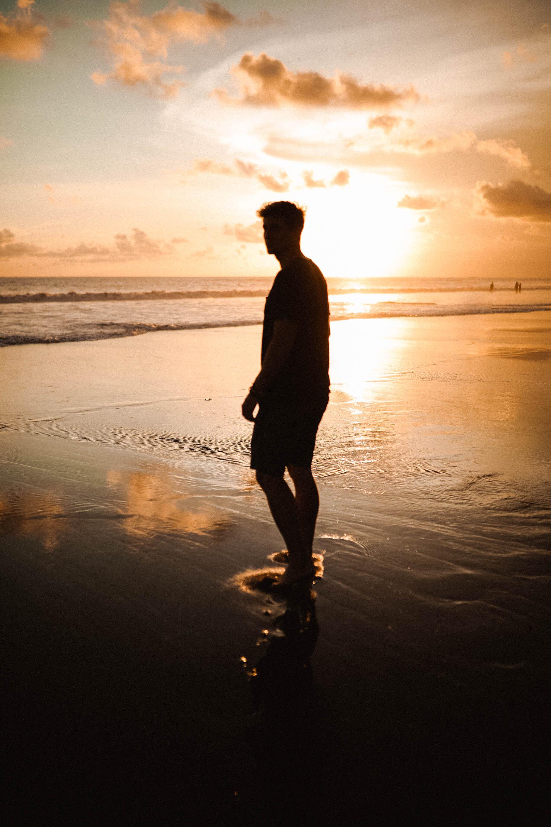 Lost LeBlanc on Berawa beach in Canggu at sunset, Bali