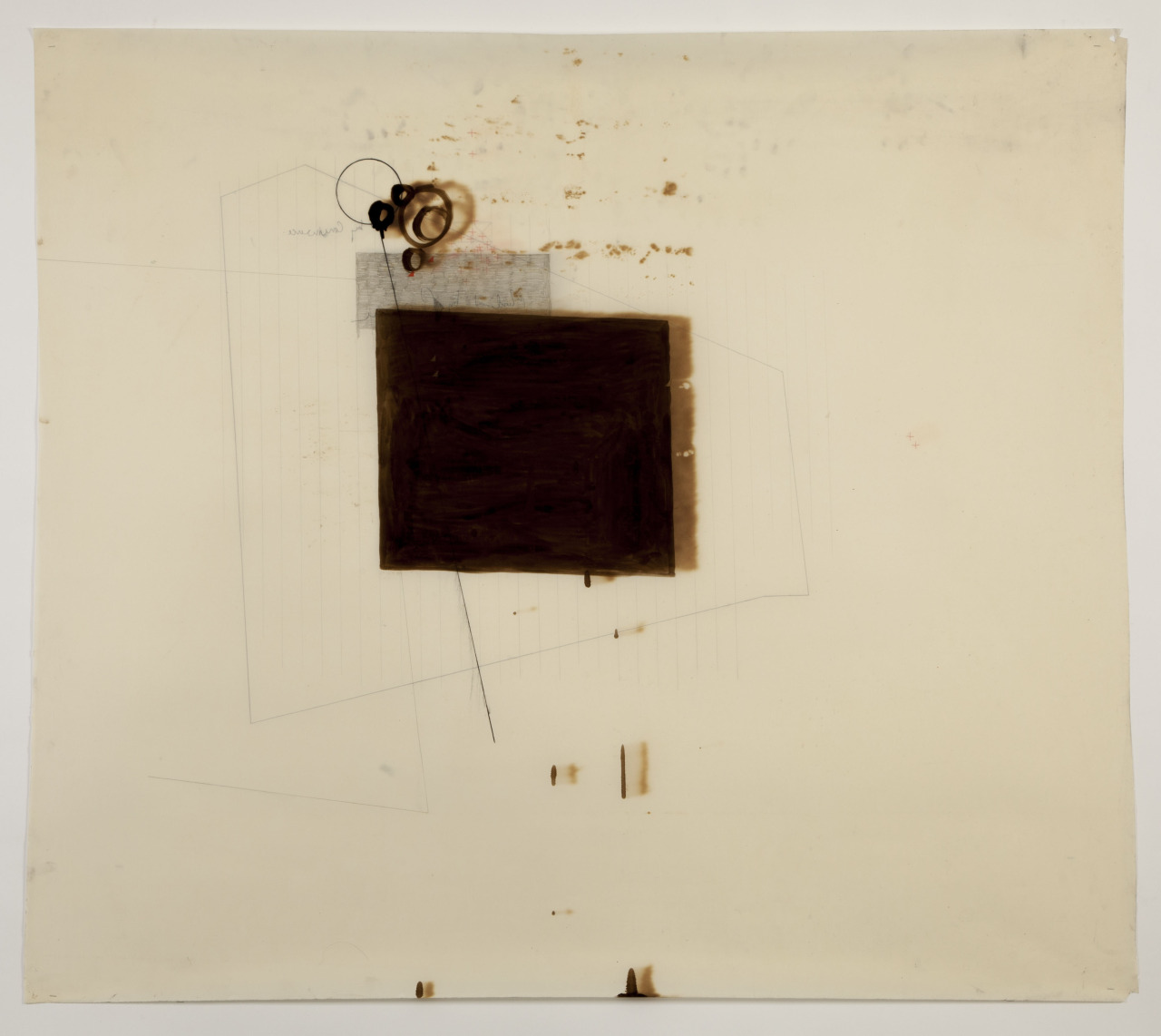 'Untitled' - December 2012 (Bitchumen, graphite, pencil & coloured pencil on oiled paper (motor oil) 100cm x 100cm
