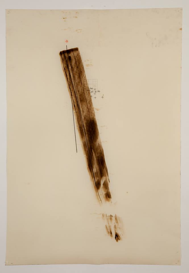 'Untitled'-(force) October 2012 - Motor oil, Fabriano paper, Bitchumen & Graphite. 80cm x 50cm.