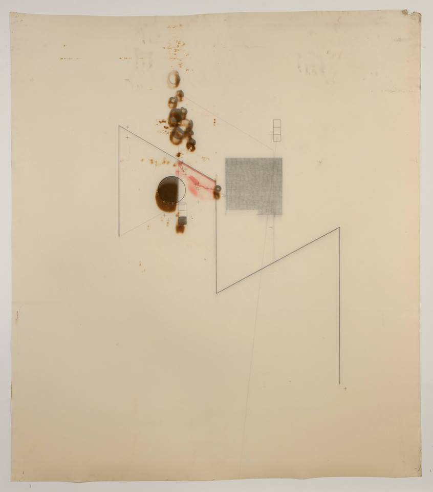 'Untitled' (beginning to end) (BACK) October 2012 - Motor oil, Fabriano paper, coloured pencil, Bitchumen & Graphite. 110cm x 100cm.