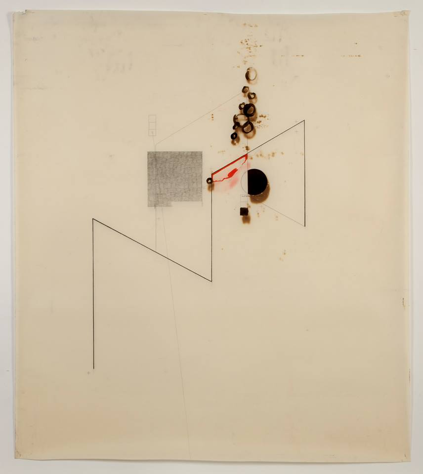 'Untitled' (beginning to end) (FRONT) October 2012 - Motor oil, Fabriano paper, coloured pencil, Bitchumen & Graphite. 110cm x 100cm.