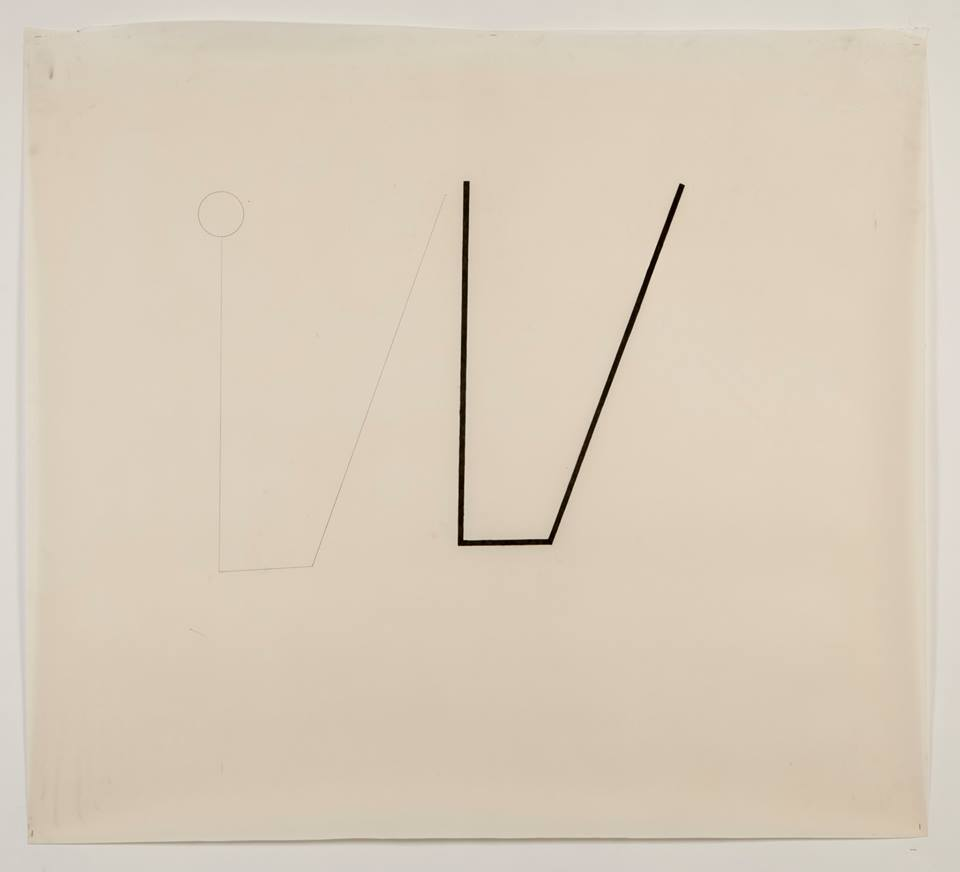 'Untitled- study for sculpture (2)' February 2013. Oiled fabriano paper (motor oil), pencil and graphite.  100cm x 100cm.