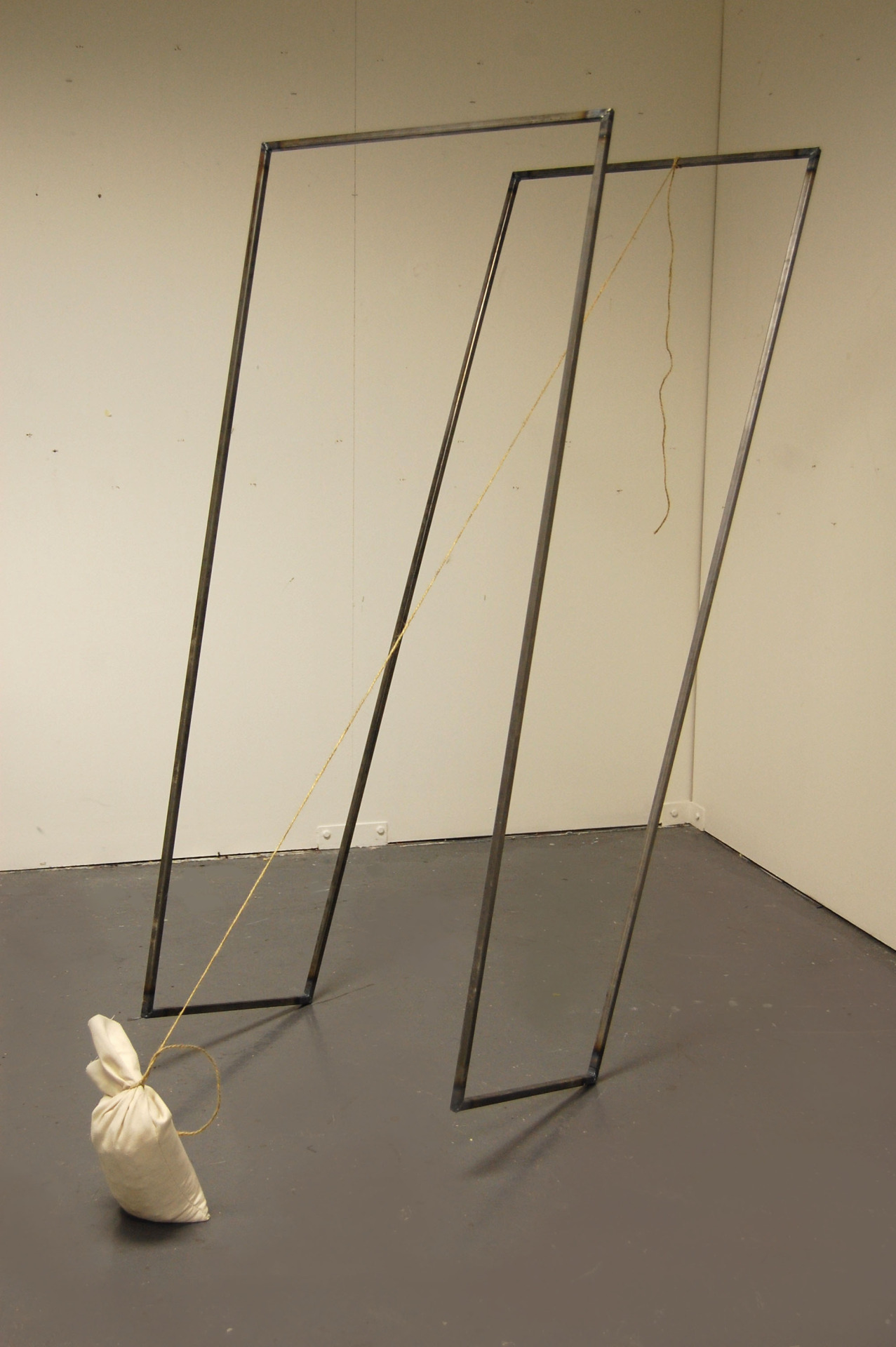 'Untitled' February 2013. Welded steel, string (hessian), calico and sand.  80cm x 60cm x 120cm. It correlates the language in my drawings into a physical state using weight to respond to line.