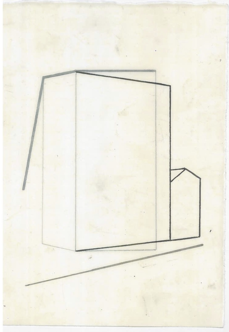 Architecture in transit (the city, observations 25A)  Pencil on oiled fabriano paper  140mm x 180mm  December 2013