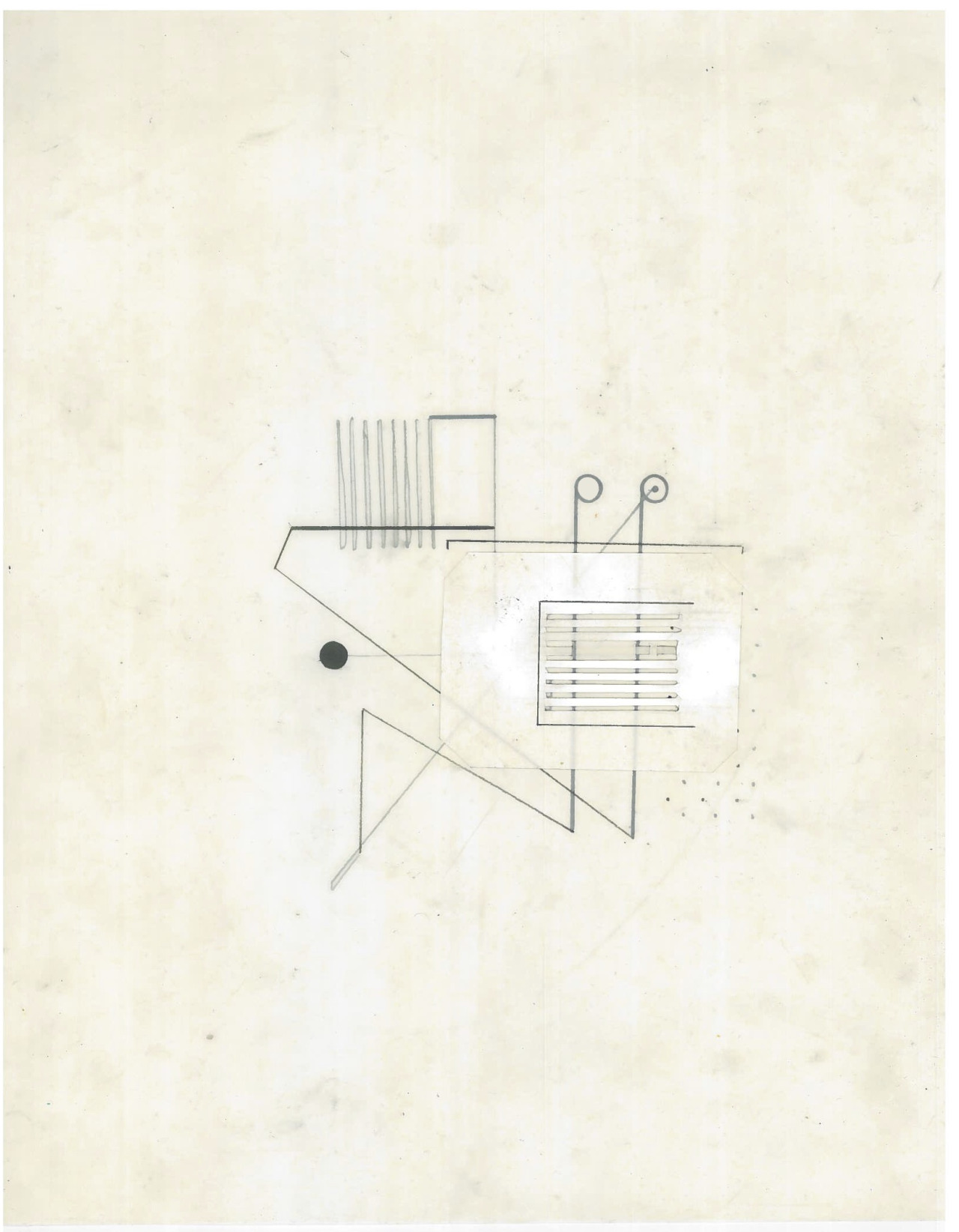 Untitled (the city, observations 20A)  Pencil and collage on oiled fabriano paper  279mm x 216mm  December 2013