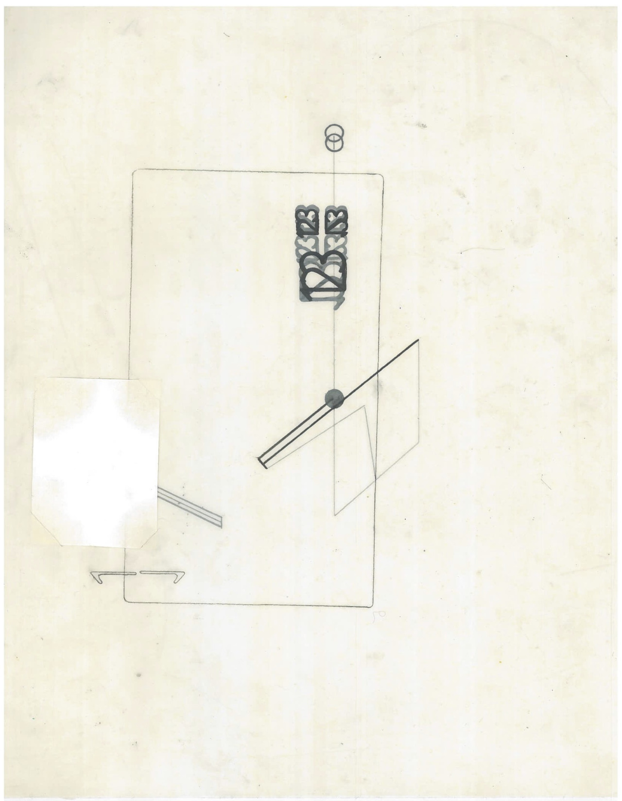 Untitled (the city, observations 19A)  Pencil and collage on layered oiled fabriano paper  279mm x 216mm  December 2013