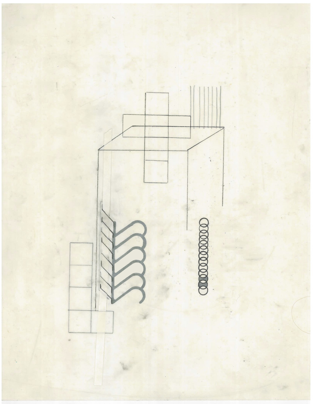 Untitled (the city, observations 19B)  Pencil, collage and layered oiled fabriano paper.   279mm x 216mm  December 2013