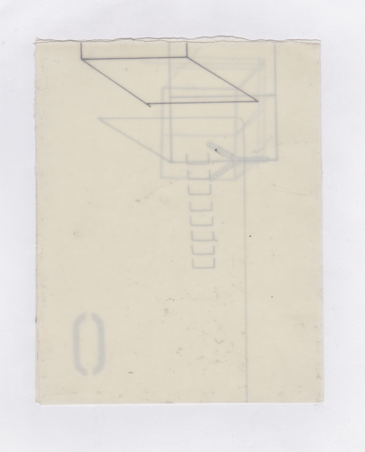 Untitled (the city, observations 11)  Pencil on layered(x3) oiled fabriano paper.  140mm x 180mm  December 2013.