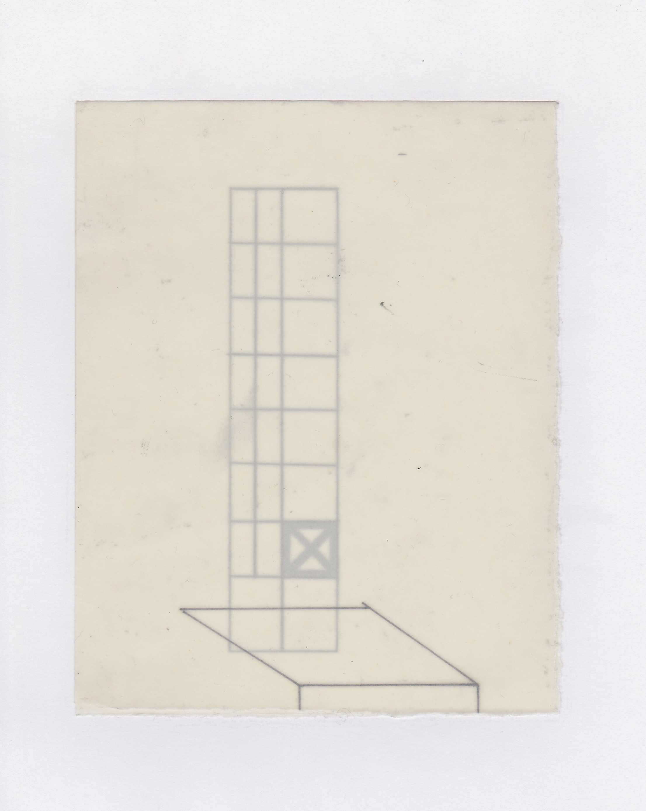 Untitled (the city, observations 05)  Pencil on oiled fabriano paper.  140mm x 180mm  December 2013.
