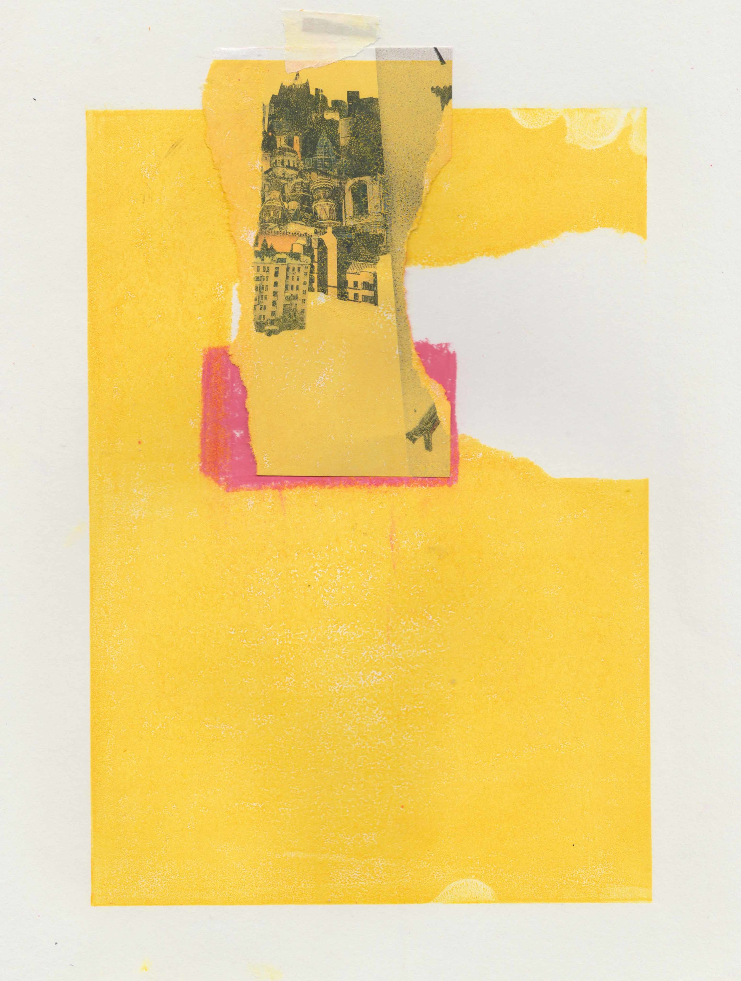 (Yellow Thursday) Lino print, oil pastel collage on paper //March 2018