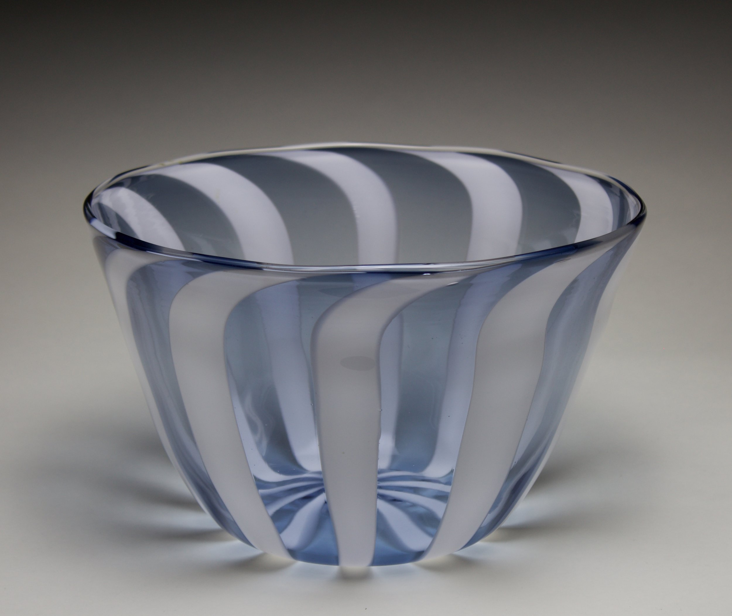 Blue and White Striped Bowl