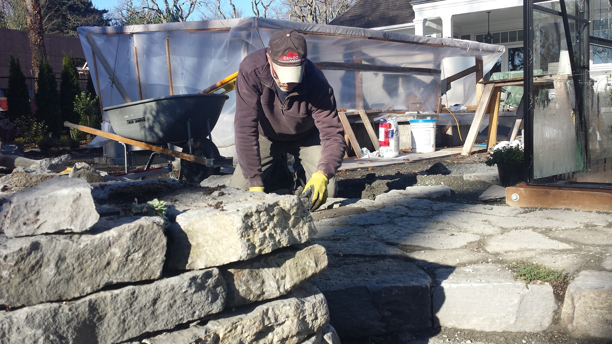 Dry stack stone wall and landing