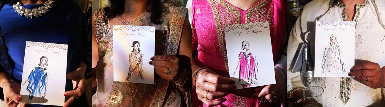 Illustrations of the guests at Raji and Nayan's wedding!