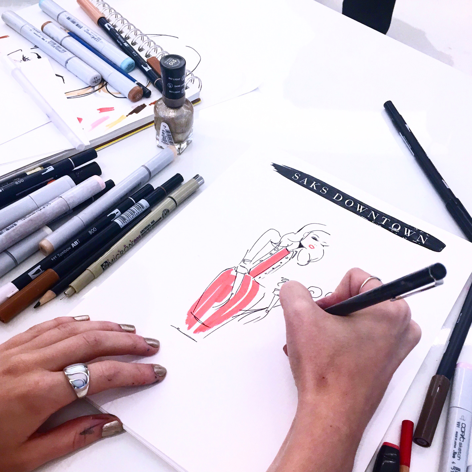 Live Sketching for Saks Downtown