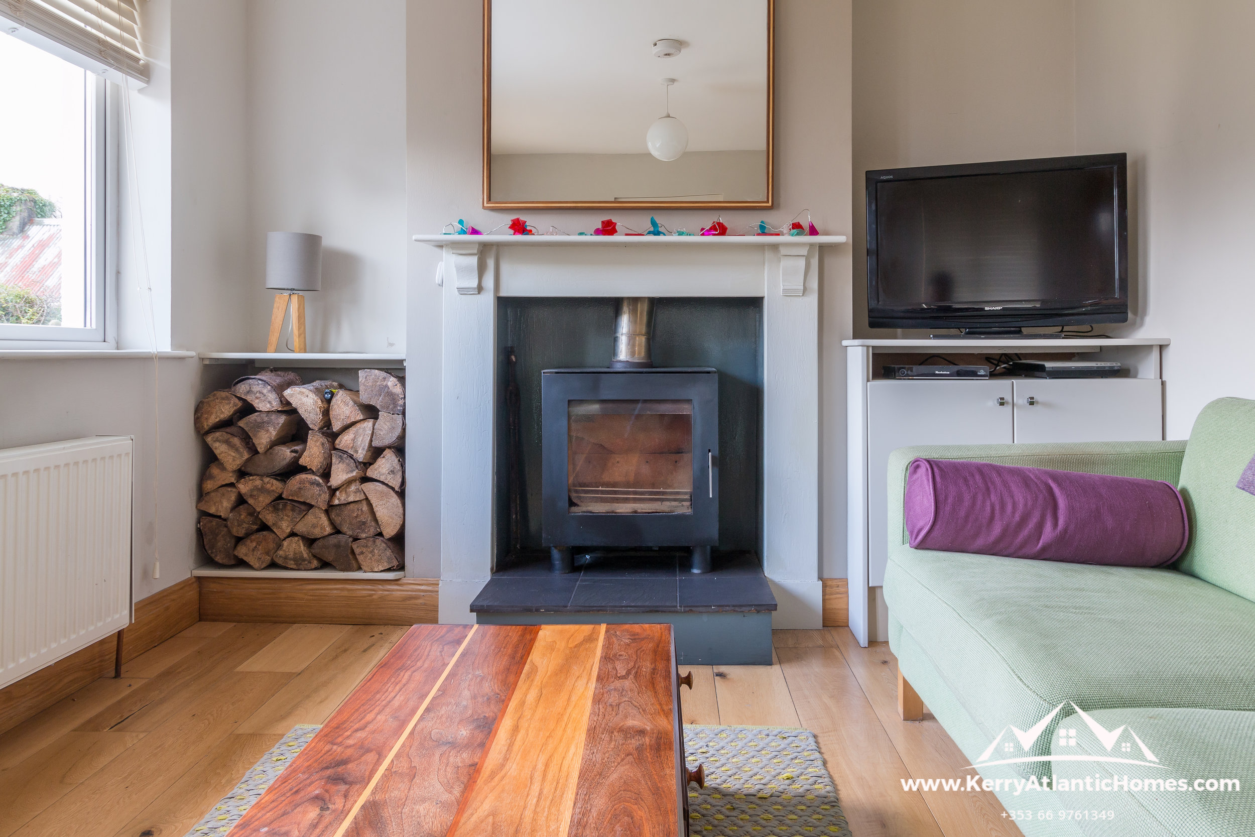 Living Room with solid fuel burner