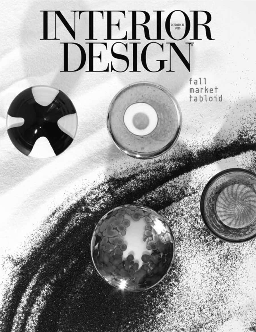 """Interior Design (October 2015)    """"Wicked good - fighting the forces of darkness: Mark Kinsley's Faaro lamp in blown glass with concrete base by Lake + Wells."""""""