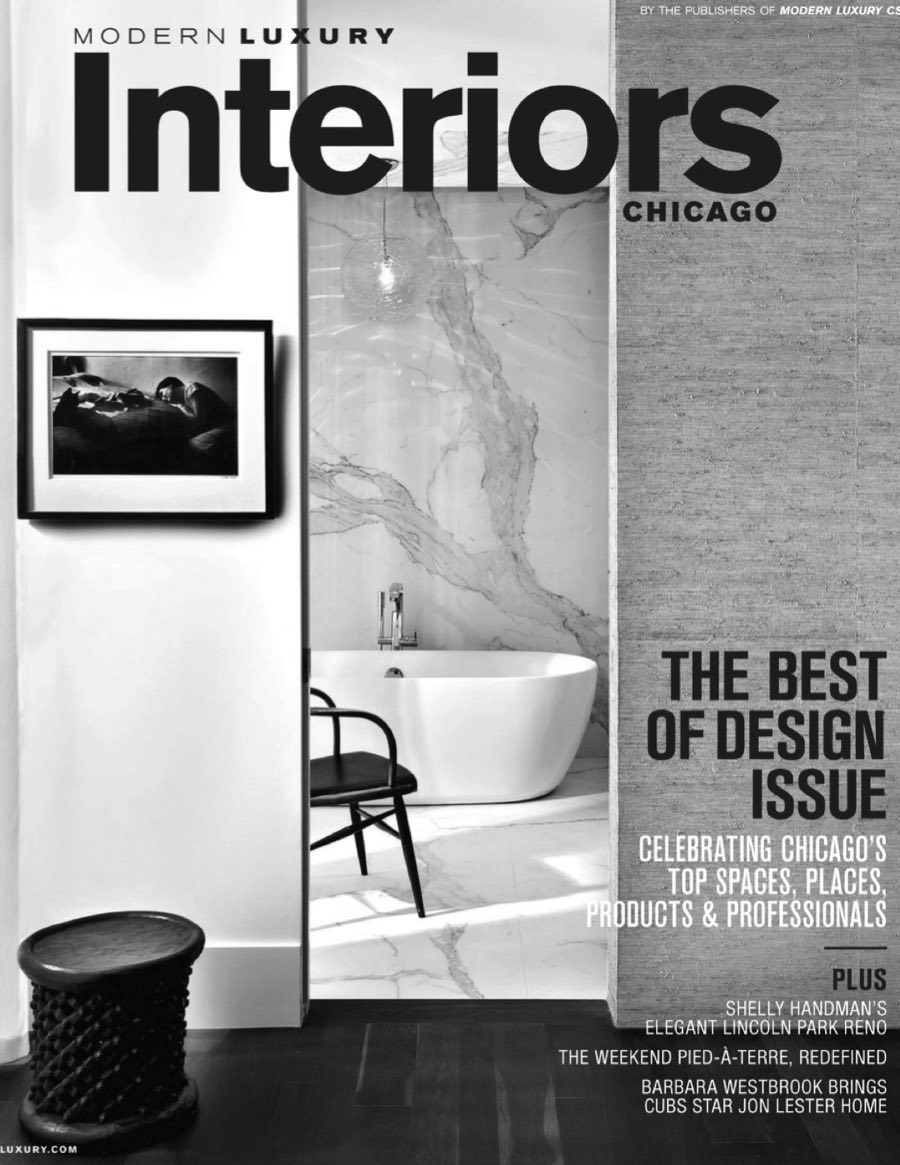 """Modern Luxury Interiors (Winter/Spring 2016)    """"Guiding light: Inspired by the romanticism of a lighthouse, husband-and-wife design duo...have developed a light, the Faaro table lamp... The textural glass of the lamp's shade produces a warm glow with a rippled reflection that we think you will agree is poetry brought to life."""""""