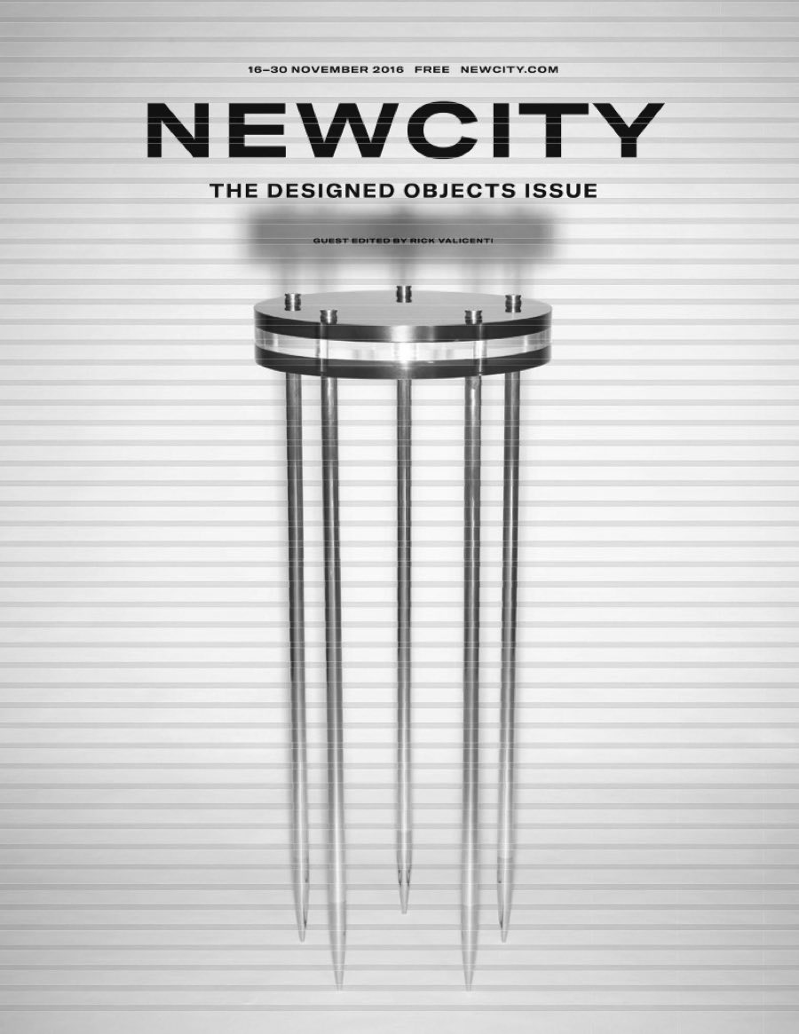 "Newcity (November 2016)    Chicago's Designed Objects.   ""Conceptually Crafted, Fearlessly Functional, Provocative, Inquisitive.    Riveli Shelving"""