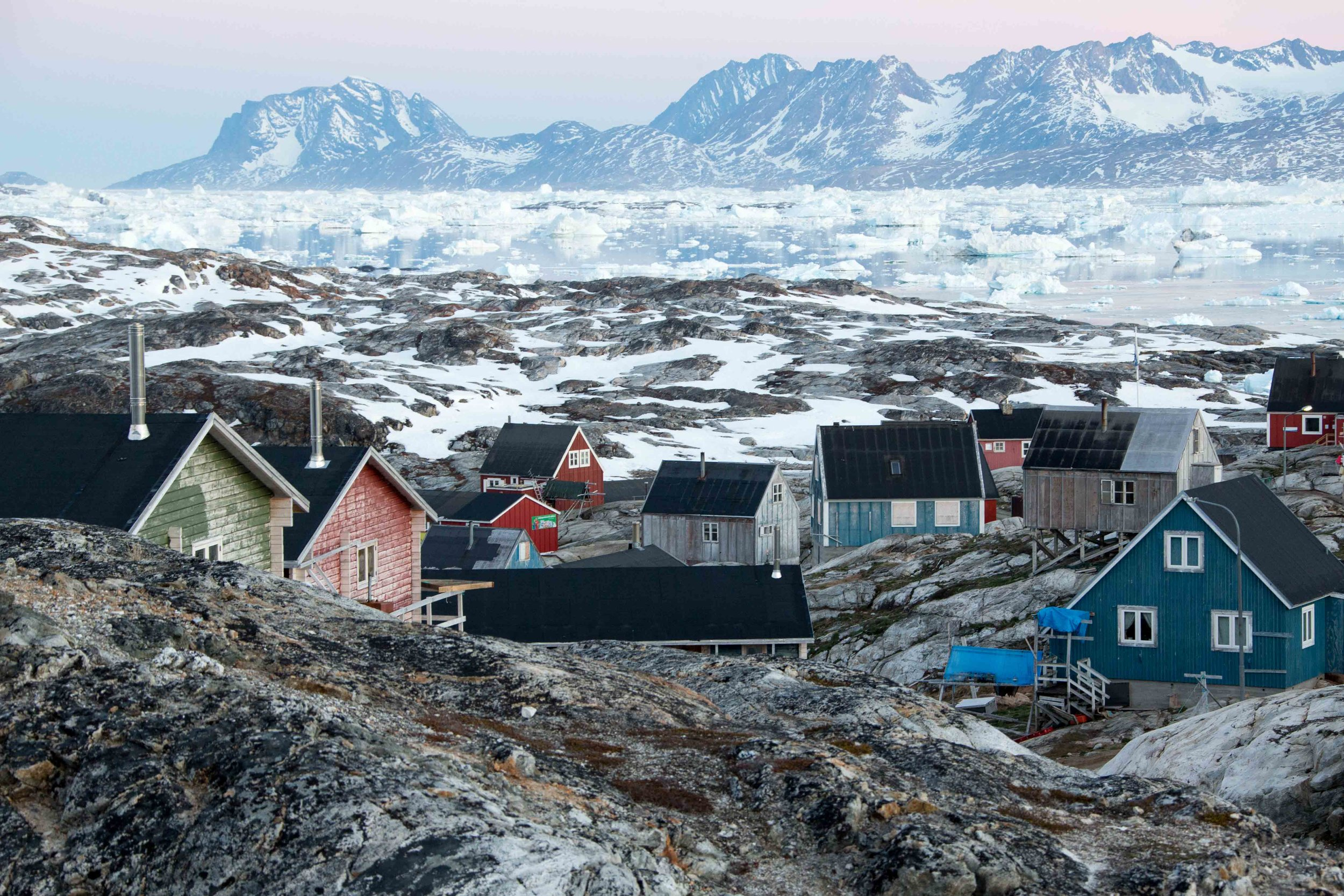 The settlement of Tinit, Greenland at 1am, still illuminated by the midnight sun.