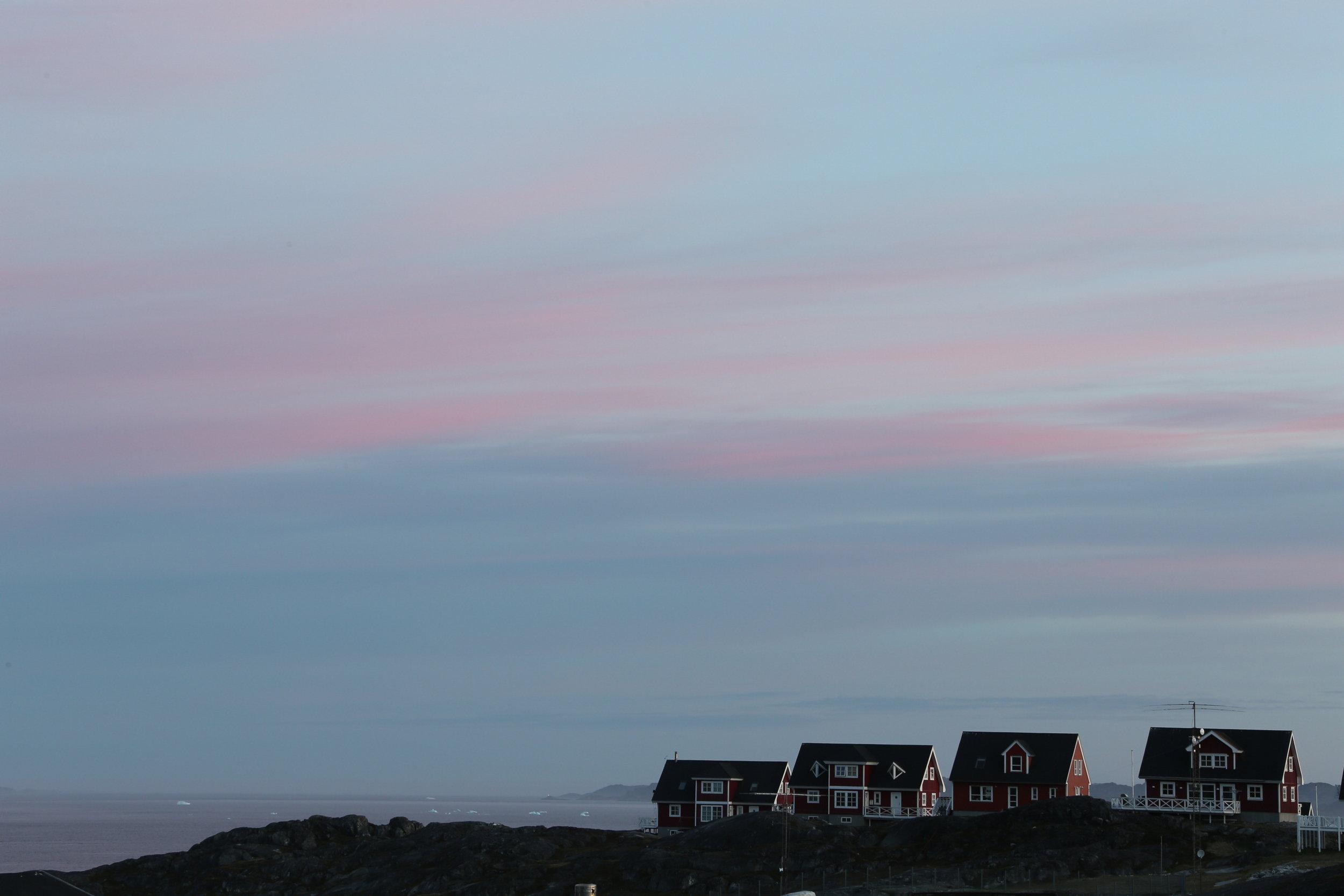 Sunset over Nuuk, Greenland.
