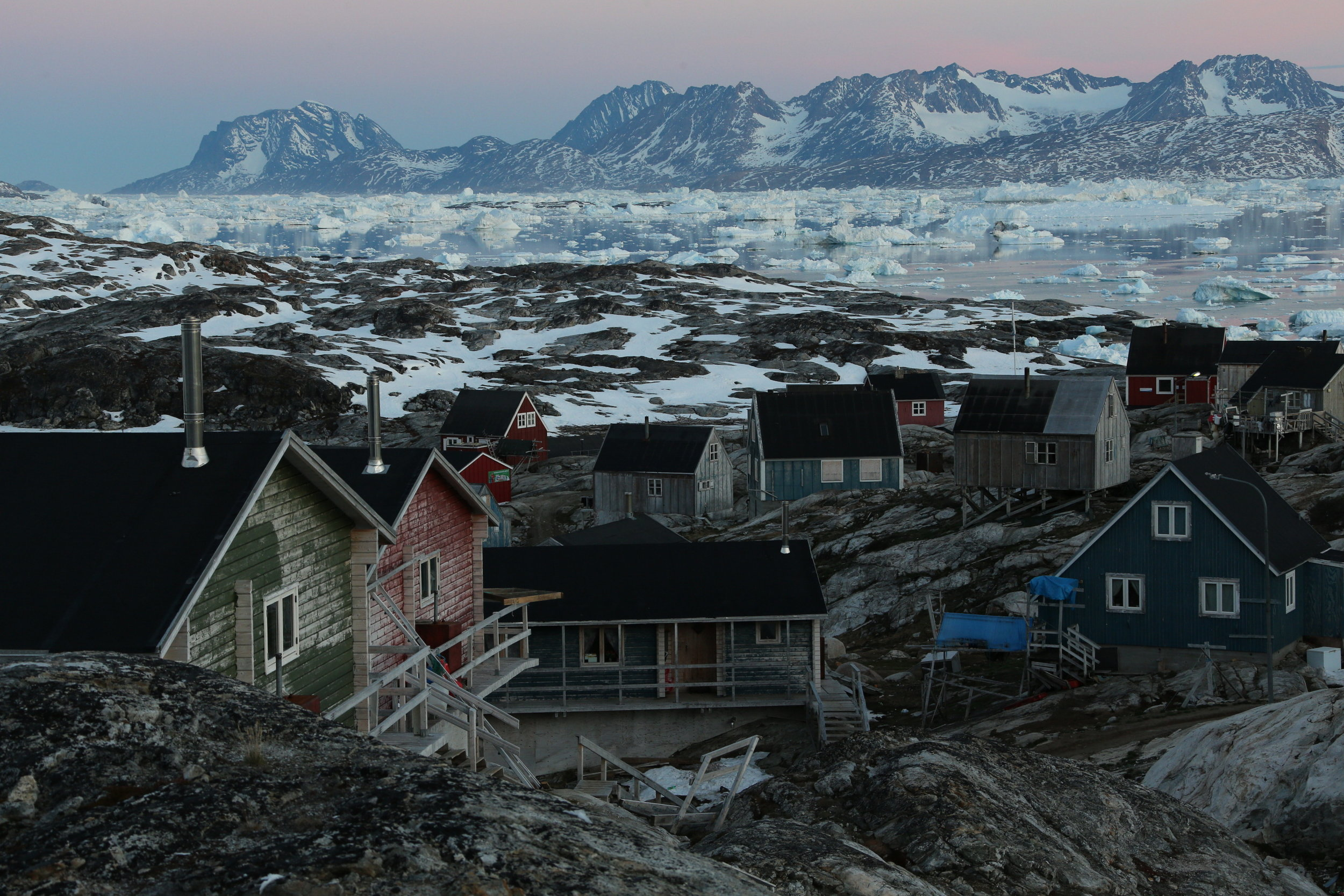 Greenlandic houses in Tinit, east Greenland.