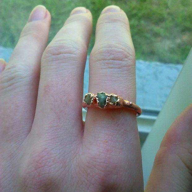 Finished Copper Electroformed Crystal Ring