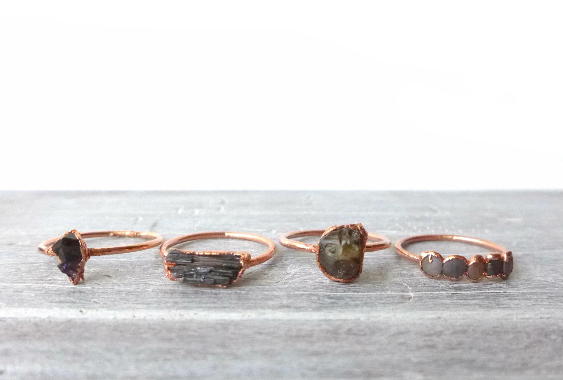 Copper Electroformed Gemstone Rings
