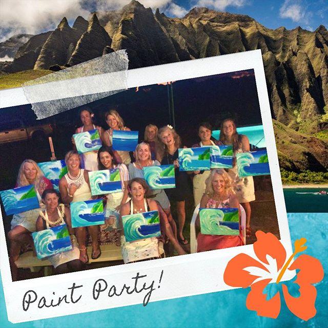 🌺 Mahalo! 🌺 to this awesome group of ladies for making us a part of their Sister's Birthday Celebration in Kilauea!! 🎨🖌✨ We had a blast with you! . . . . #paintdrinkcreate #paradisepalette #artnight #kauaiart #kauiaartist #paintandsip #sipandpaint #aloha #kauaievents #kauaiactivities #lethawaiihappen #luckywelivekauai #luckywelivehawaii #kauai #hawaii #travelkauai #travelhawaii #datenight #gno #ladiesnight #girlsnight #dosomethingdifferent #letloose #havefun #relax #enjoylife #therapeutic #havealohawilltravel #kauaihawaii #painting