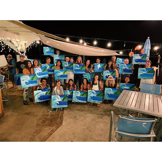 """🌊 MAHALO 🌊 to everyone who came out tonight to Paint, Drink & Create at the """"Polihale Surf"""" painting event at the @thecabanakauai ! ✨ We had so much fun with you all and enjoyed seeing at least 3 different groups celebrating birthdays tonight! ✨🍾🎉🖌 Woohoo! . . . . . . #paintdrinkcreate #paradisepalette #artnight #kauaiart #kauiaartist #paintandsip #sipandpaint #aloha #kauaievents #kauaiactivities #lethawaiihappen #luckywelivekauai #luckywelivehawaii #kauai #hawaii #travelkauai #travelhawaii #datenight #gno #ladiesnight #girlsnight #dosomethingdifferent #letloose #havefun #relax #enjoylife #therapeutic #havealohawilltravel #kauaihawaii #painting"""