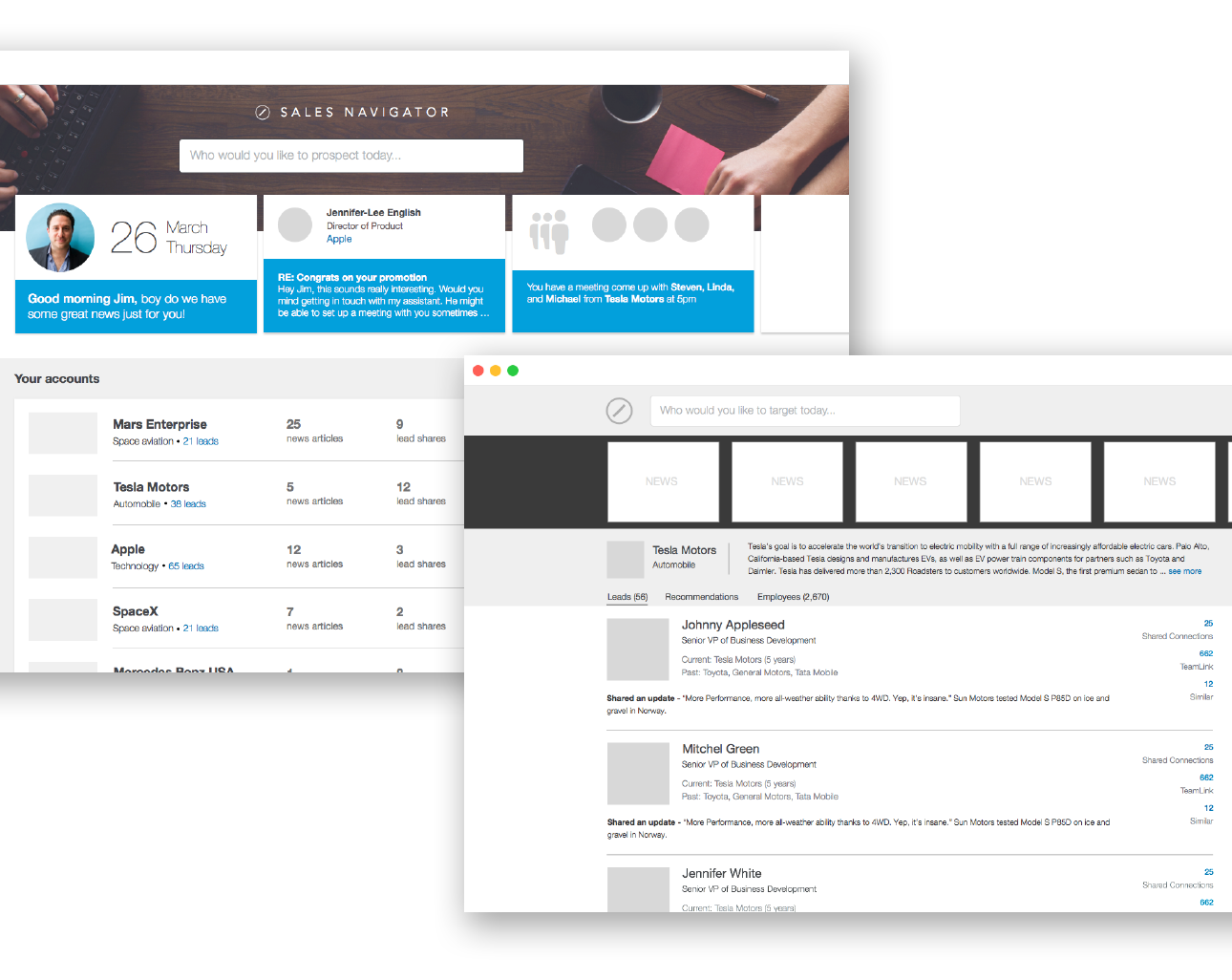 (Left) Surfacing the top insights, while giving the user an overview of the rest. (Right) What if the entire product was a search result page? (Below) Higher fidelity designs and prototypes that we started testing against our users.