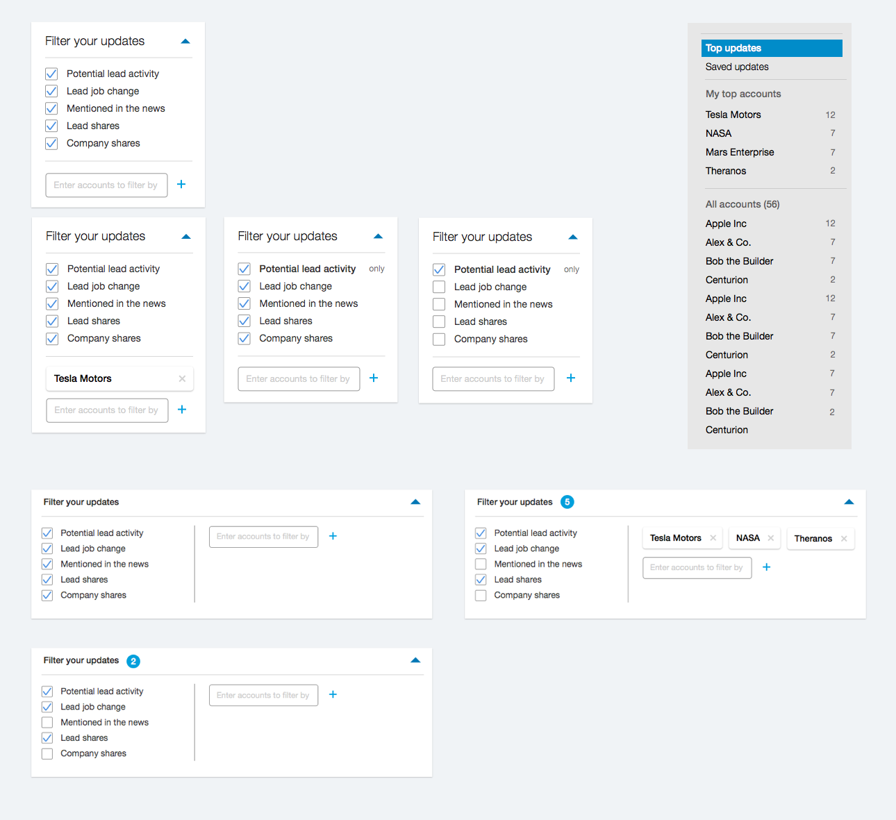Feature level iterations I designed for filter on the feed.