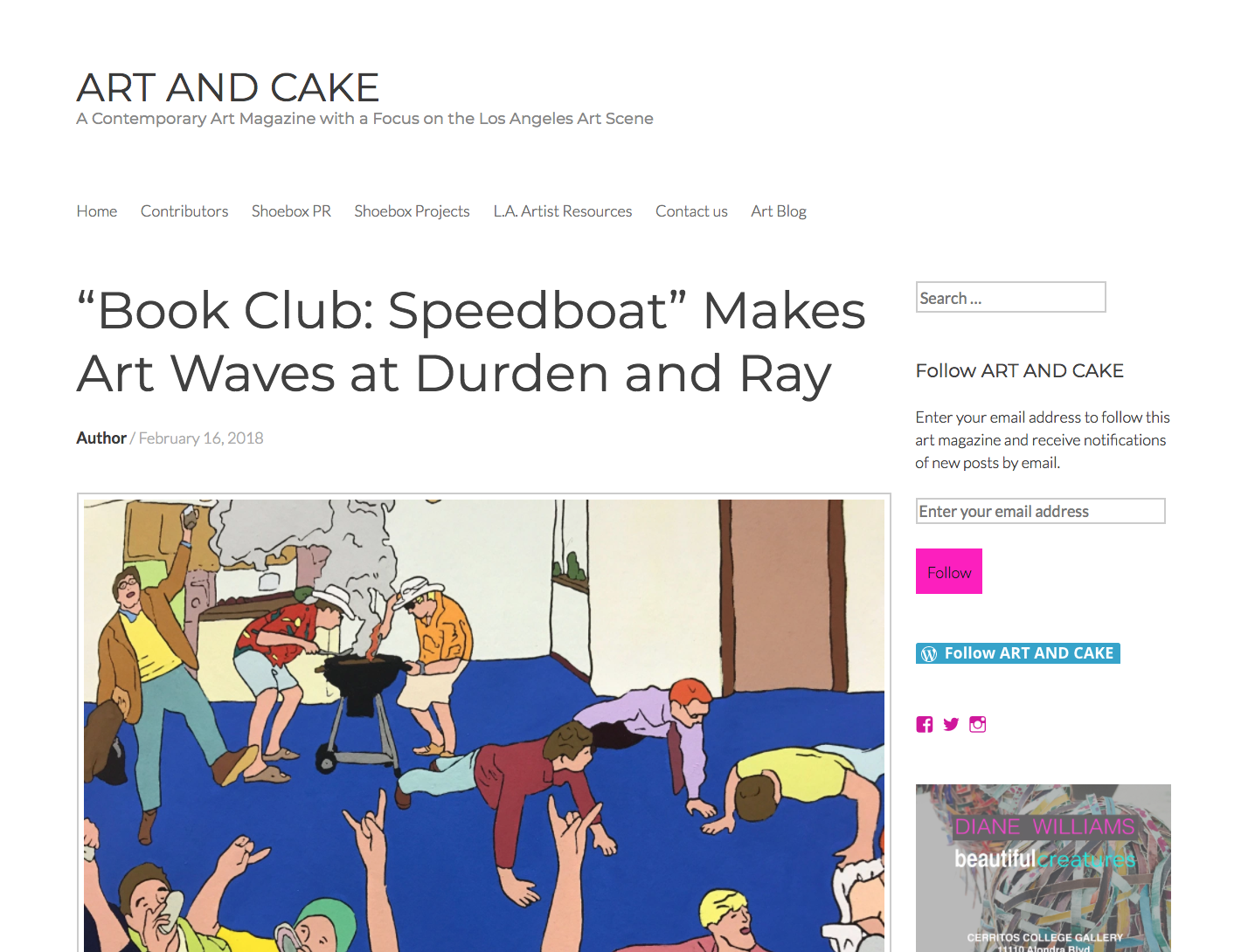 Book Club featured in Art And Cake - Book Club: Speedboat Makes Art Wavesthrough February 24Durden and Ray, Los AngelesBy Genie Davis