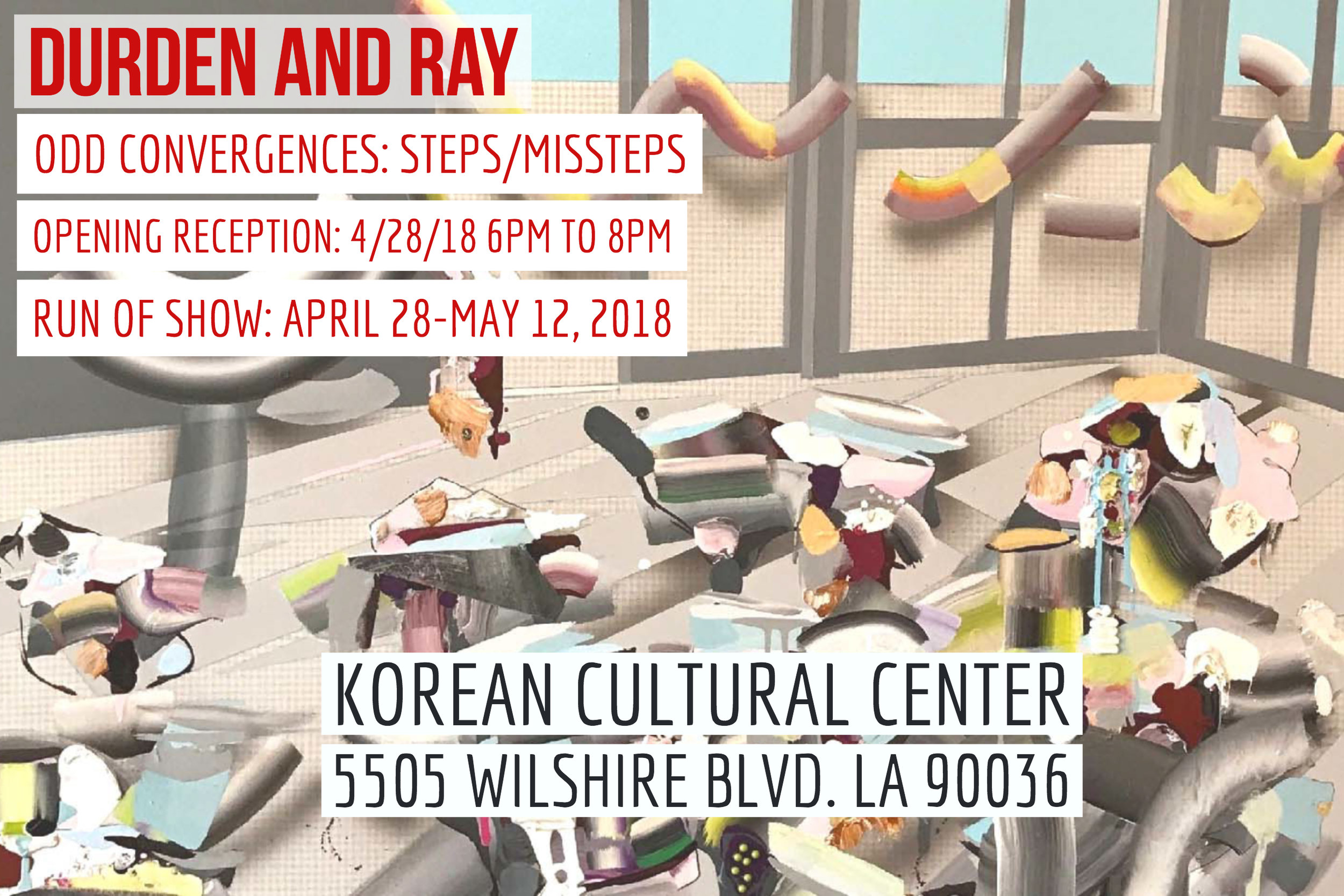 Reception: Saturday, April 28, 6-8pm Dates: April 28 to May 12, 2018 Hours: Mon to Fri 10am- 5pm and Saturday 10am-1pm  Address: 5505 Wilshire Blvd. Los Angeles, CA 90036 Curators:  Gul Cagin ,  Roni Feldman  and  Valerie Wilcox  Artists: Carlos Beltran,  Carl Berg ,  Jorin Bossen ,  Gul Cagin ,  Jennifer Celio , Sijia Chen ,  Joe Davidson ,  Dani Dodge ,  Lana Duong ,  Tom Dunn ,  Roni Feldman ,  Ben Jackel ,  Brian Thomas Jones ,  Jenny Hager ,  David Leapman , Sean Noyce ,  Max Presneill ,  Ty Pownall ,  David Spanbock ,  Curtis Stage , Valerie Wilcox ,  Steven Wolkoff  and  Alison Woods