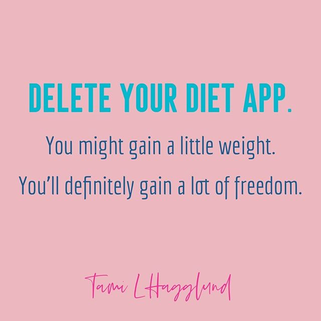"Diet apps—any app that is for food tracking, and quite a few fitness trackers, too—keep you fixated on your body.⠀ ⠀ I know it sounds terrifying, but you CAN learn to trust your body. You can listen to it, and you can eat delicious food with plenty of nutrients and *also* treat foods and have a normal life. A BETTER life.⠀ ⠀ Imagine going to brunch with your BFF and the only thing you think about regarding the food is how delicious it was. ⠀ ⠀ Imagine having spontaneous ice cream with your kids and the only stress was when that fudge sauce dripped down your shirt.⠀ ⠀ Imagine having traditions with your family where the focus is on food that nurtures your cultural identity and not a fuck given about macros.⠀ ⠀ And, while we're at it, imagine exercising in ways that your body LOVES and never ever are you punishing it because of something you ate or want to be ""able"" to eat.⠀ ⠀ Imagine being free.⠀ ⠀ Now, delete that diet app. It's fucking incredible out here.⠀ •⠀ •⠀ •⠀ •⠀ •⠀ #bodypositivity #bopo #bodypositive #effyourbeautystandards #bodyconfidence #honormycurves #celebratemysize #nobs #bodyposi #bodylove #intersectionalfeminist #iamsizesexy #everybodyisbeautiful #bodyacceptance #goldenconfidence #ditchthediet #loveyourself #mentalhealth #mentalhealthmatters #anxiety #recovery #selfcare #anorexia #bulimia #eatingdisorder #mindfulness #edrecovery #mentalhealthrecovery #bewell #intersectionalfeminist"
