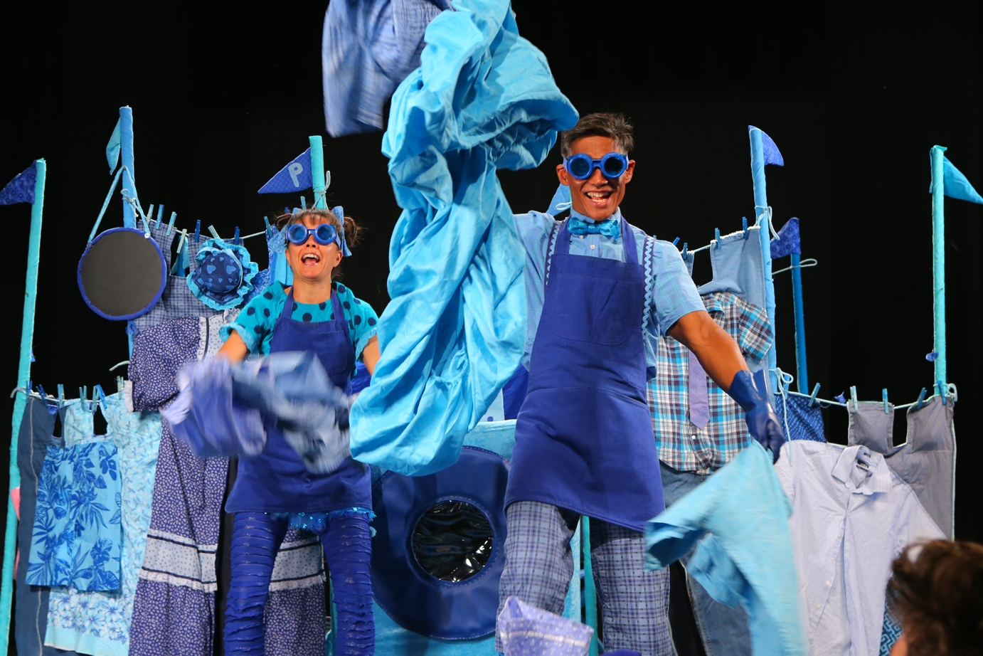 Maile Holck and Junior Tesoro in HTY's 'blue'.
