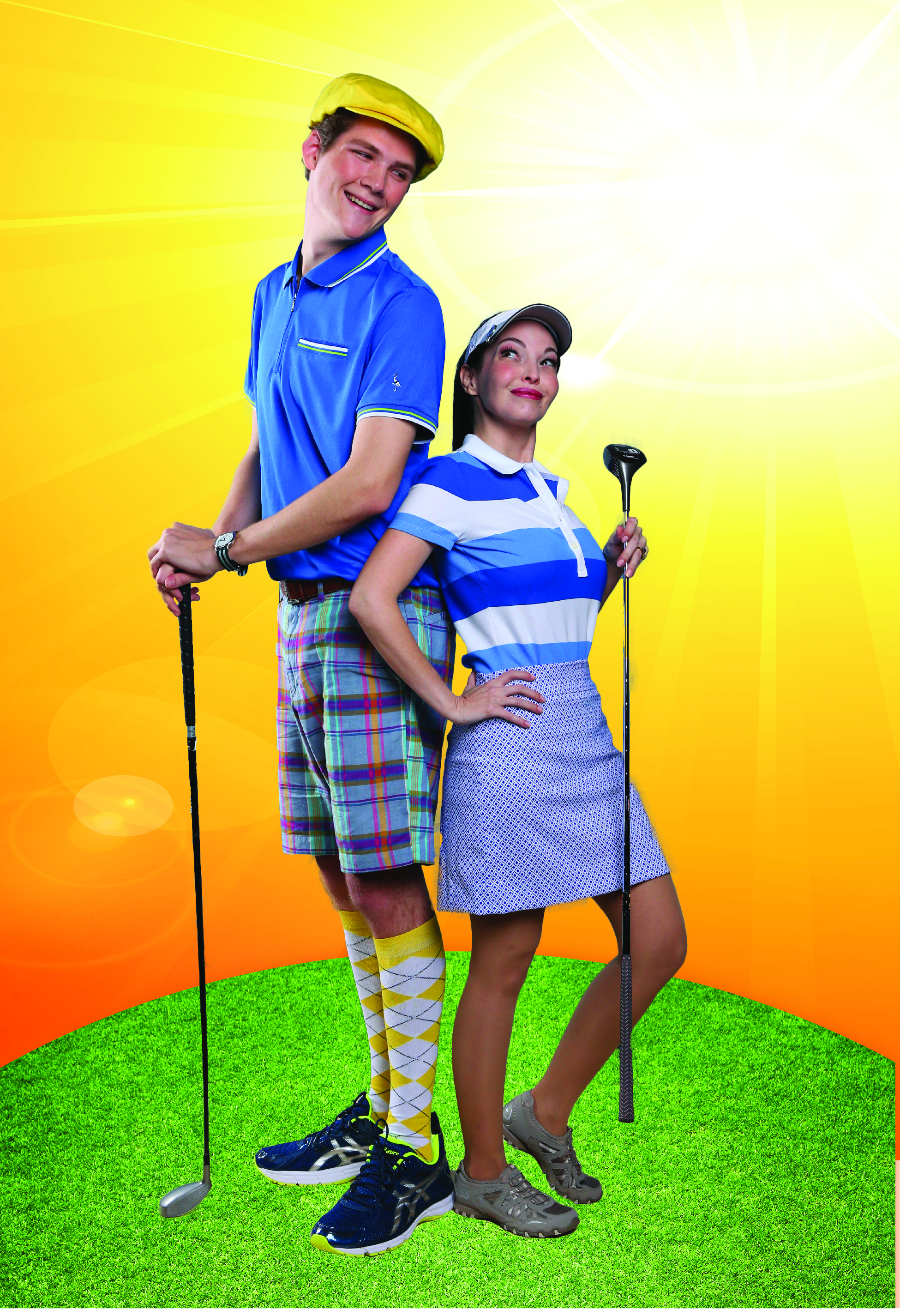 Daniel Connell and Therese Olival in DHT's 'The Fox on the Fairway'. Photo credit Brad Goda.