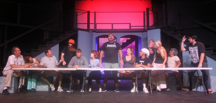 """Miguel Montez, as Jesus, and his apostles rehearse for The Last Supper in preparation for """"Jesus Christ Superstar,"""" the next production of Aloha Performing Arts Company, debuting at the Aloha Theatre next month. Photo by Rich Bickel."""