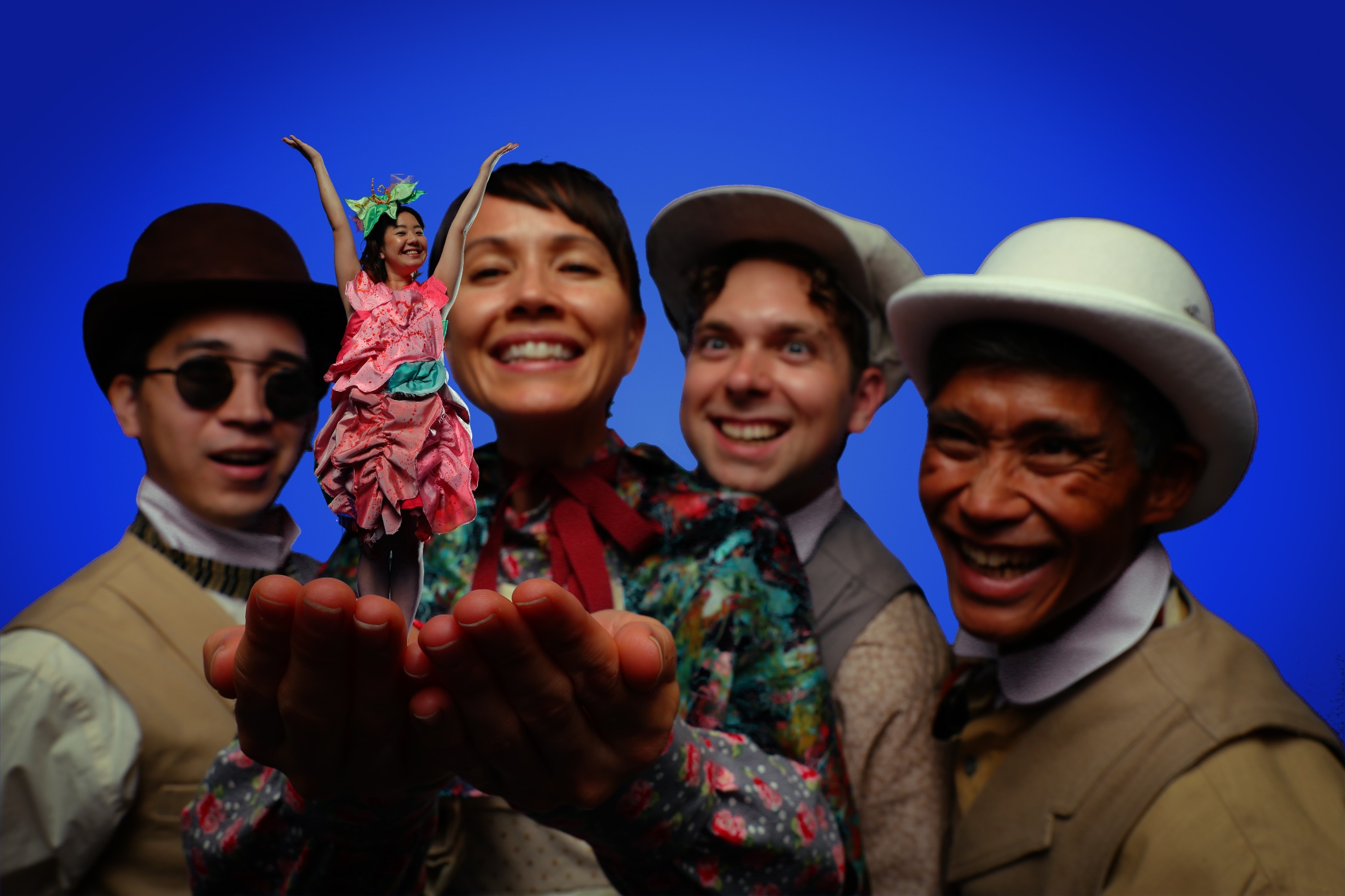 The cast of HTY's  Thumbelina  (l-r): Sean-Joseph Choo, Christine Uyeno, Maile Holck, Nathaniel Niemi, and Junior Tesoro. PC: Brad Goda